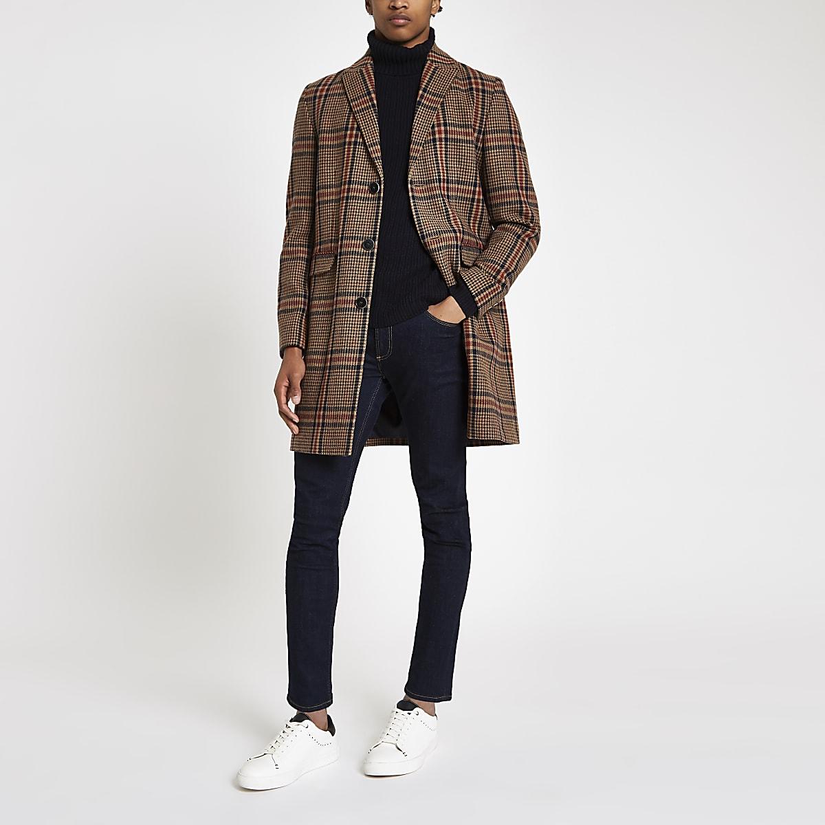 Brown check wool overcoat