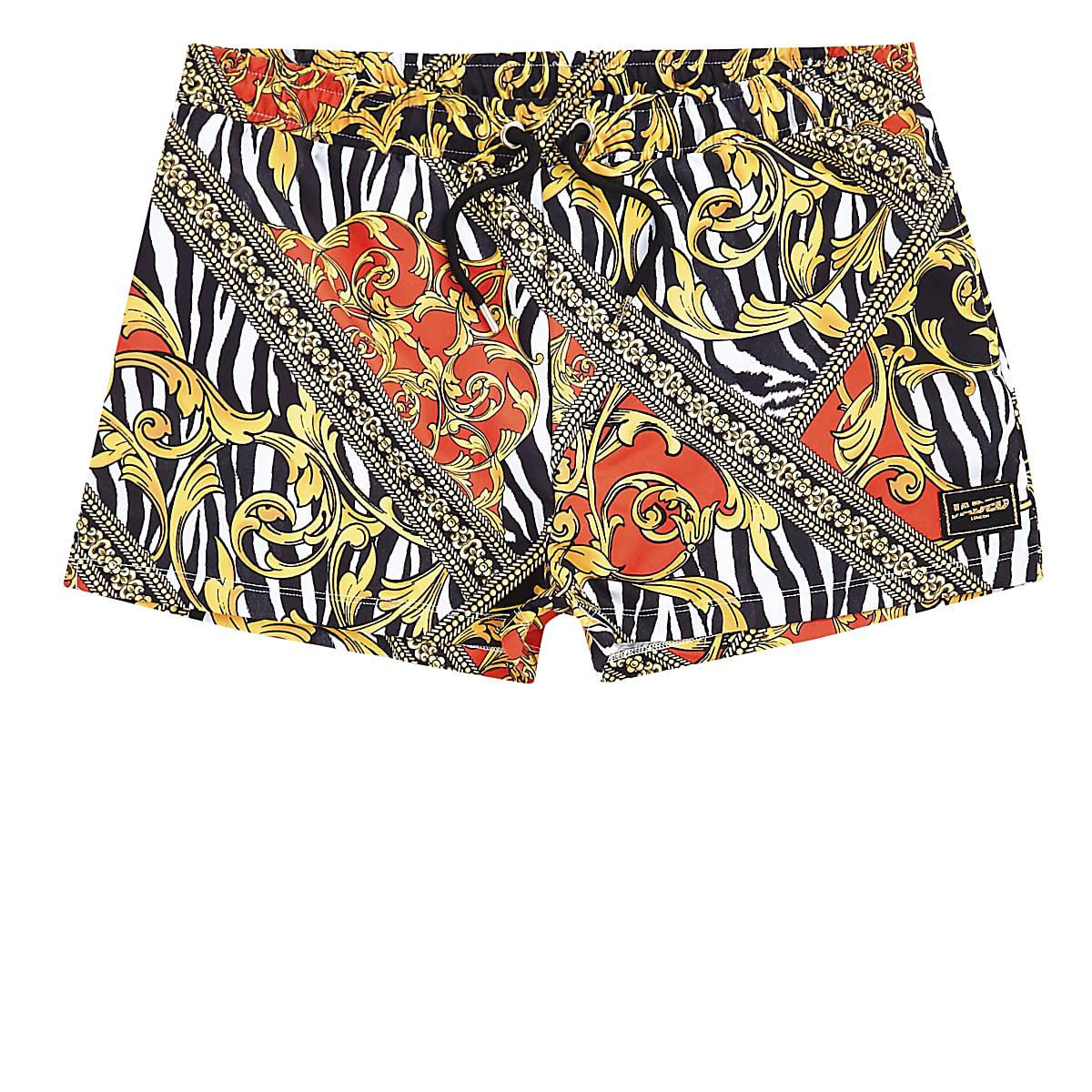 Jaded London yellow zebra print swim shorts