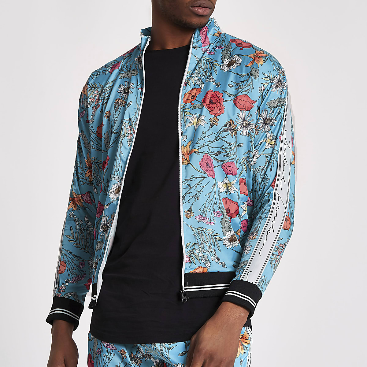 Jaded London blue floral satin track top