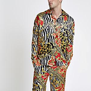 Jaded London – Chemise de pyjama à imprimé zèbre jaune