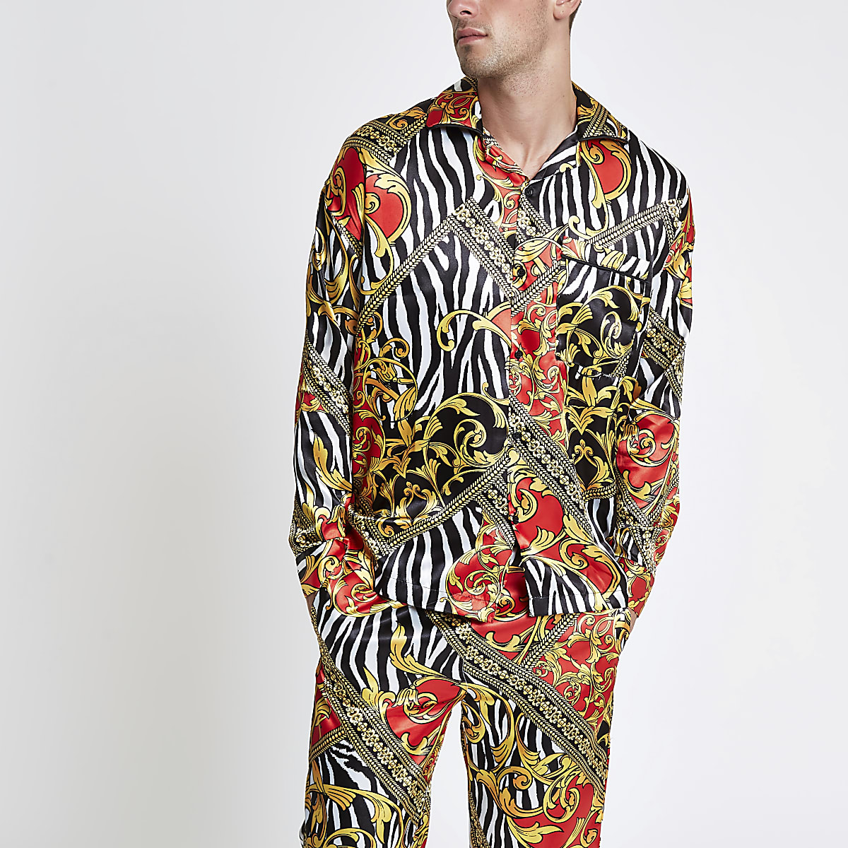Jaded London yellow zebra print pyjama shirt