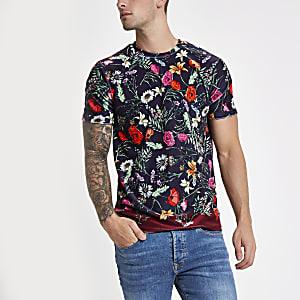 Jaded London navy velvet floral T-shirt