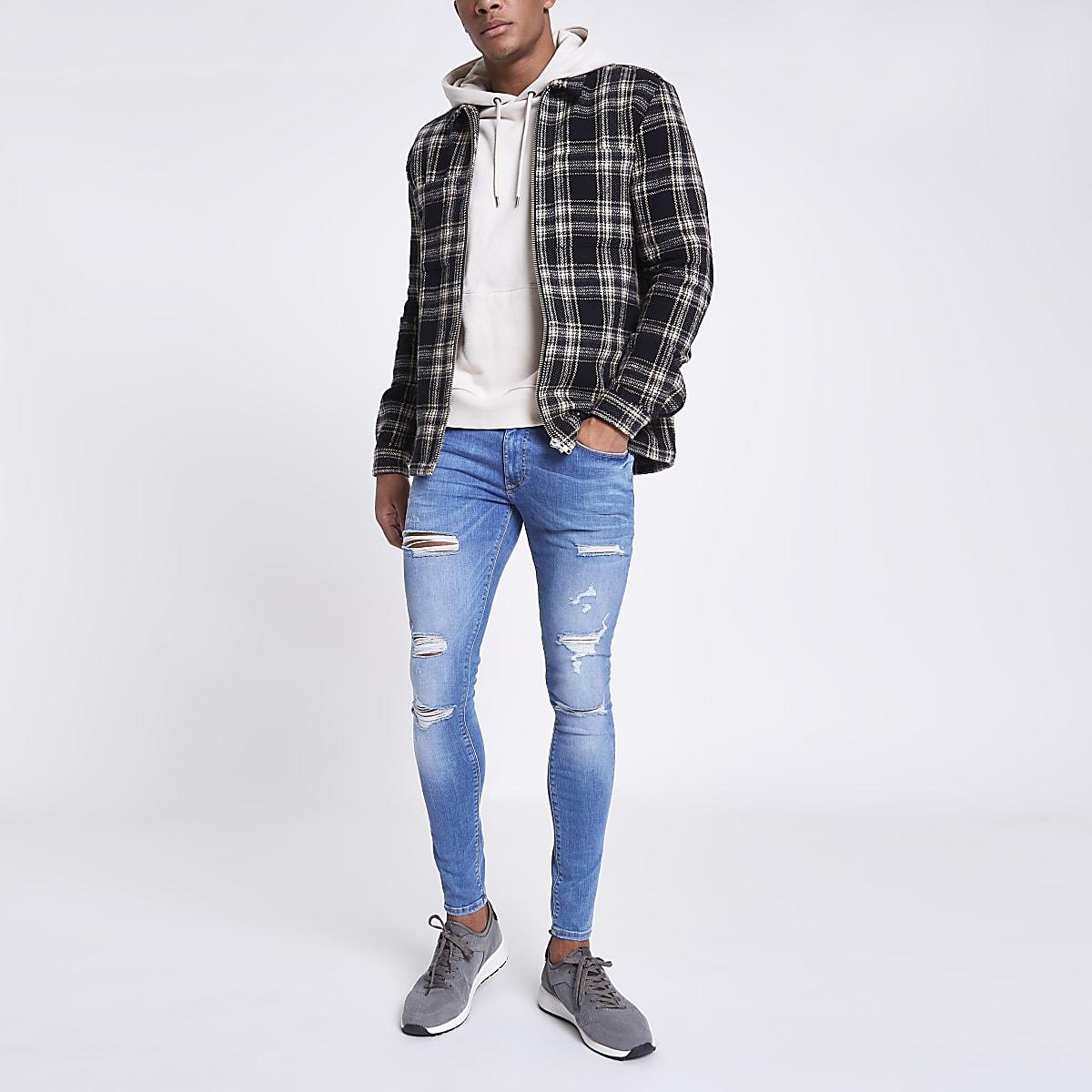 Light blue super skinny ripped jeans