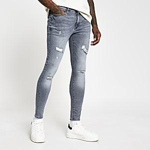 Ollie – Blaue Skinny Jeans im Used-Look