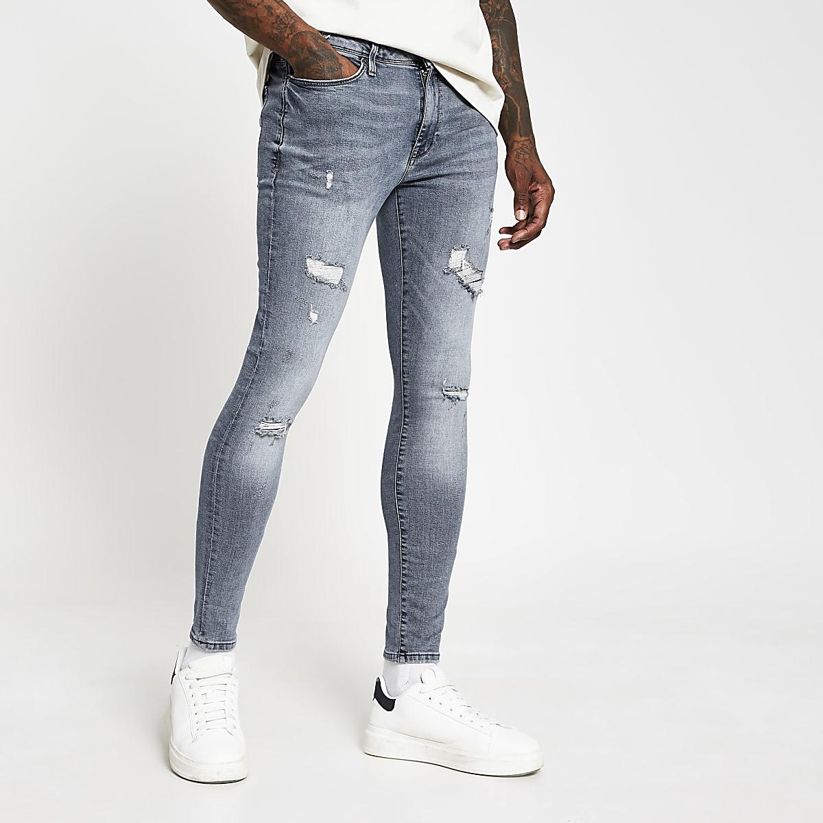 Ollie - Blauwe spray-on distressed skinny jeans