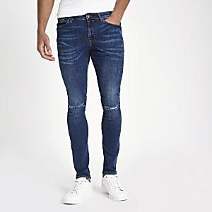 Dunkelblaue Super Skinny Jeans im Used Look