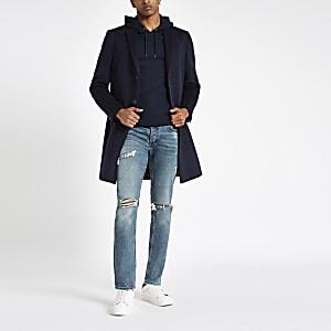 Hellblaue Skinny Jeans im Used Look