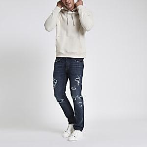 Dunkelblaue Slim Fit Jeans im Used-Look