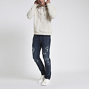 Dark blue slim fit ripped jeans