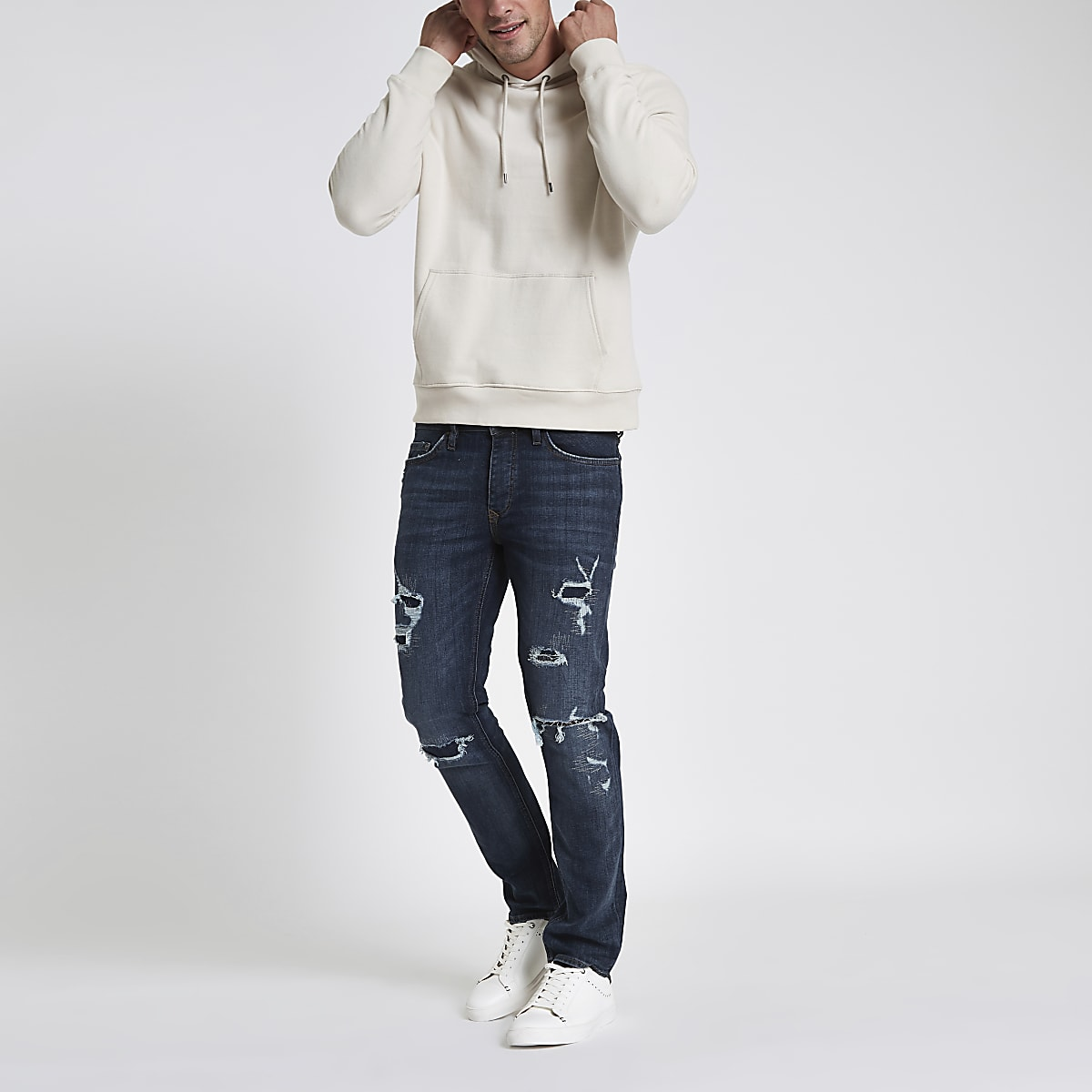 Dark blue slim fit ripped jeans