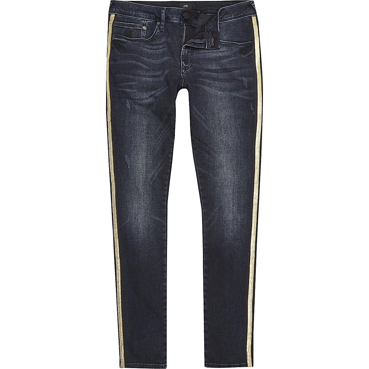 Dark blue gold tape side super skinny jeans