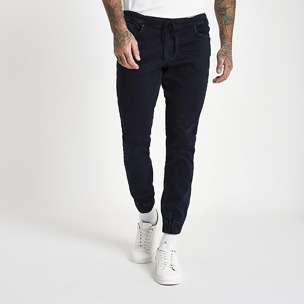 Ryan - Donkerblauwe denim jogging-jeans