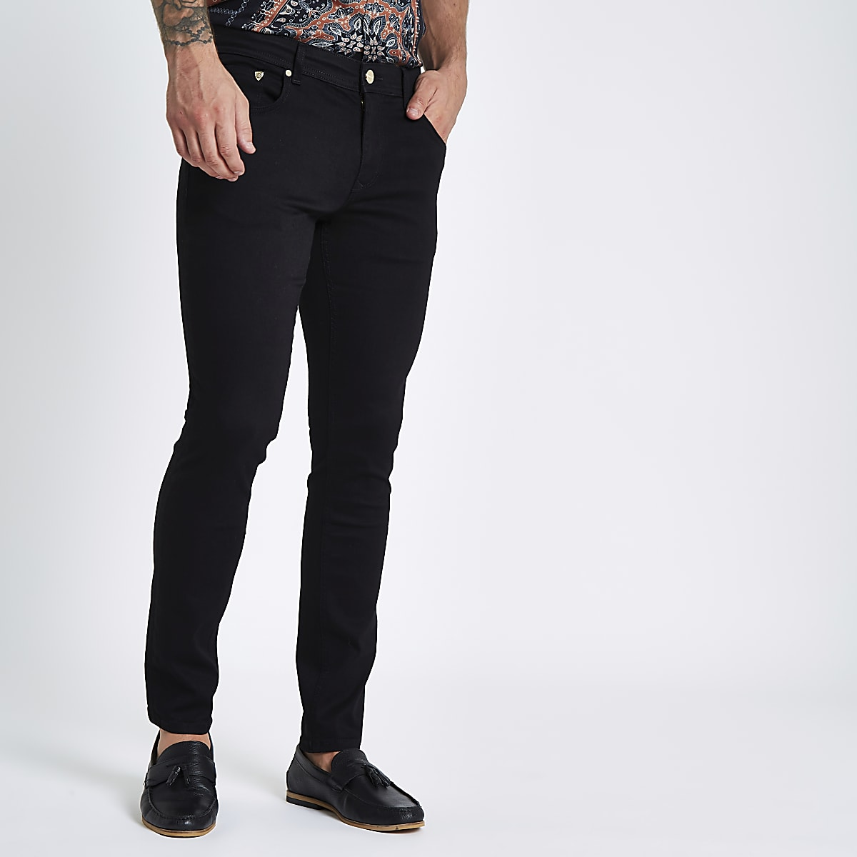 Black Sid skinny wasp embroidered jeans