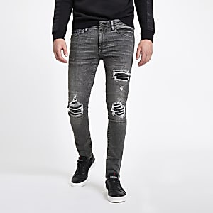 Schwarze Super Skinny im Used-Look