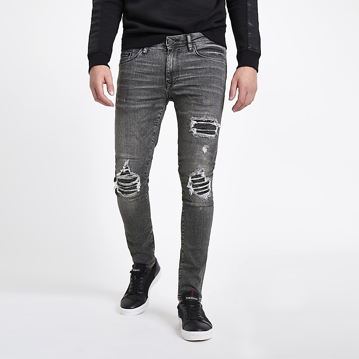 Washed zwarte superskinny ripped jeans
