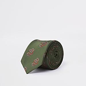 Green snake print tie