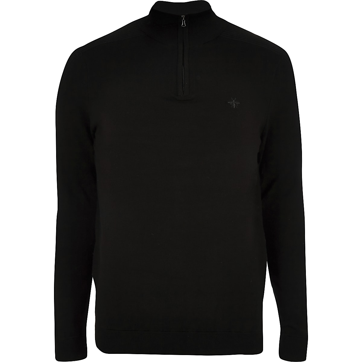 Black zip-up slim fit funnel neck jumper