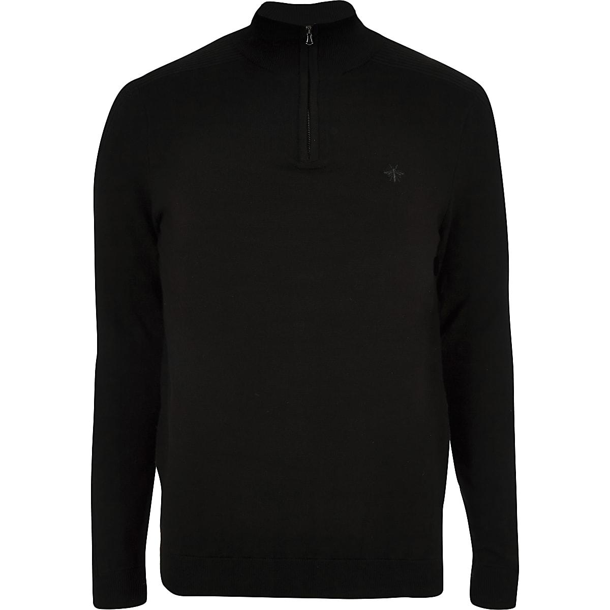 Black zip-up slim fit funnel neck sweater