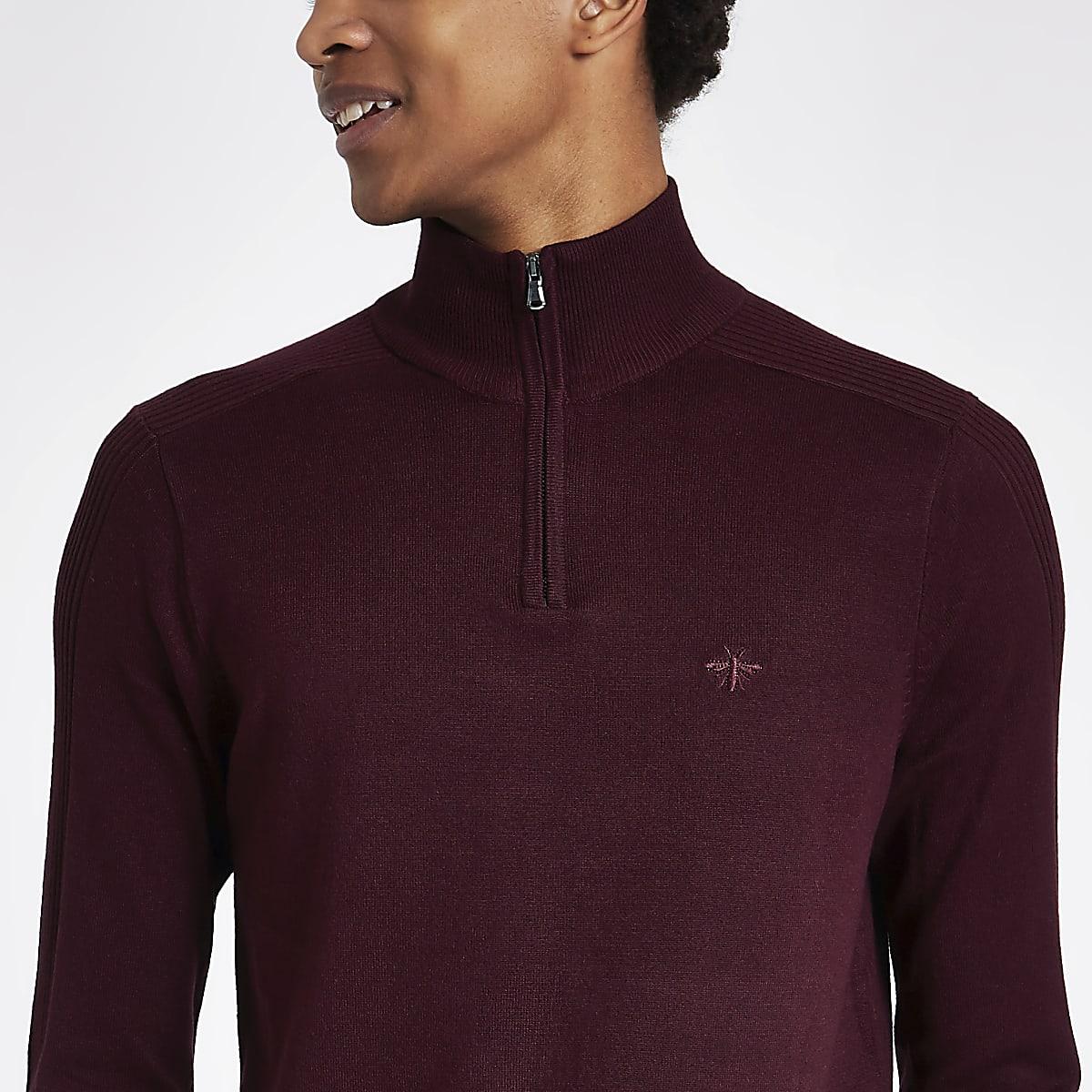 Dark red zip-up slim fit funnel neck sweater