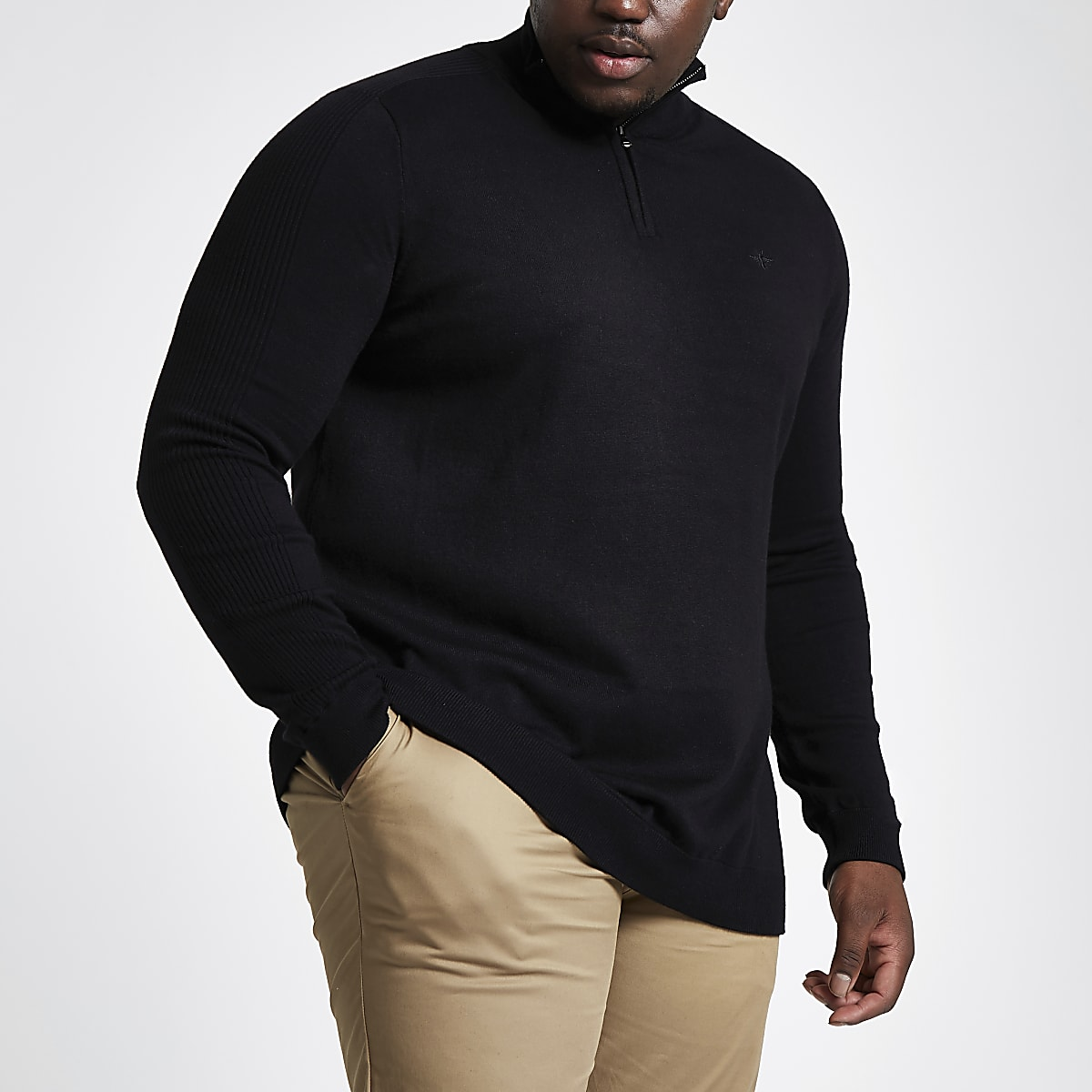 Big and Tall black knit zip up jumper