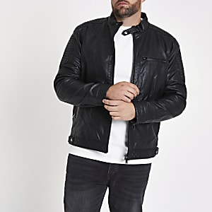 Big and Tall – Veste de pilote en cuir synthétique