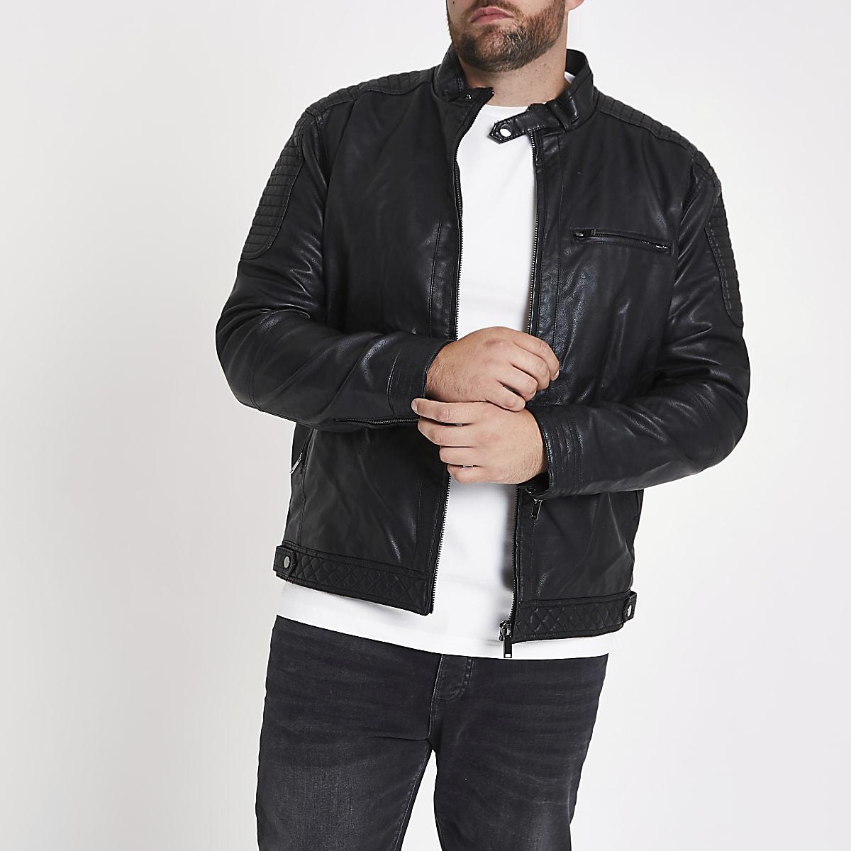 Big and Tall – Racer-Jacke aus Kunstleder