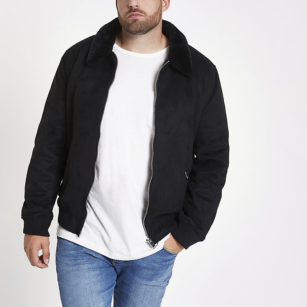 Big and Tall black faux suede borg jacket
