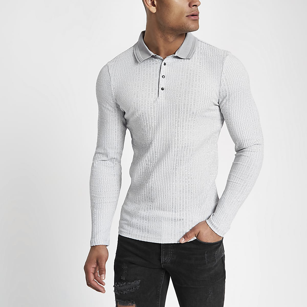 Grey muscle fit chunky rib polo shirt