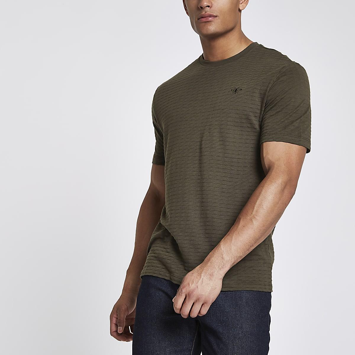Khaki waffle slim fit short sleeve T-shirt