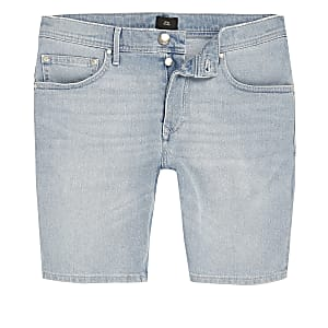 Light blue Sid skinny fit denim shorts