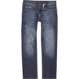 Donkerblauwe jeans met rechte pijpen