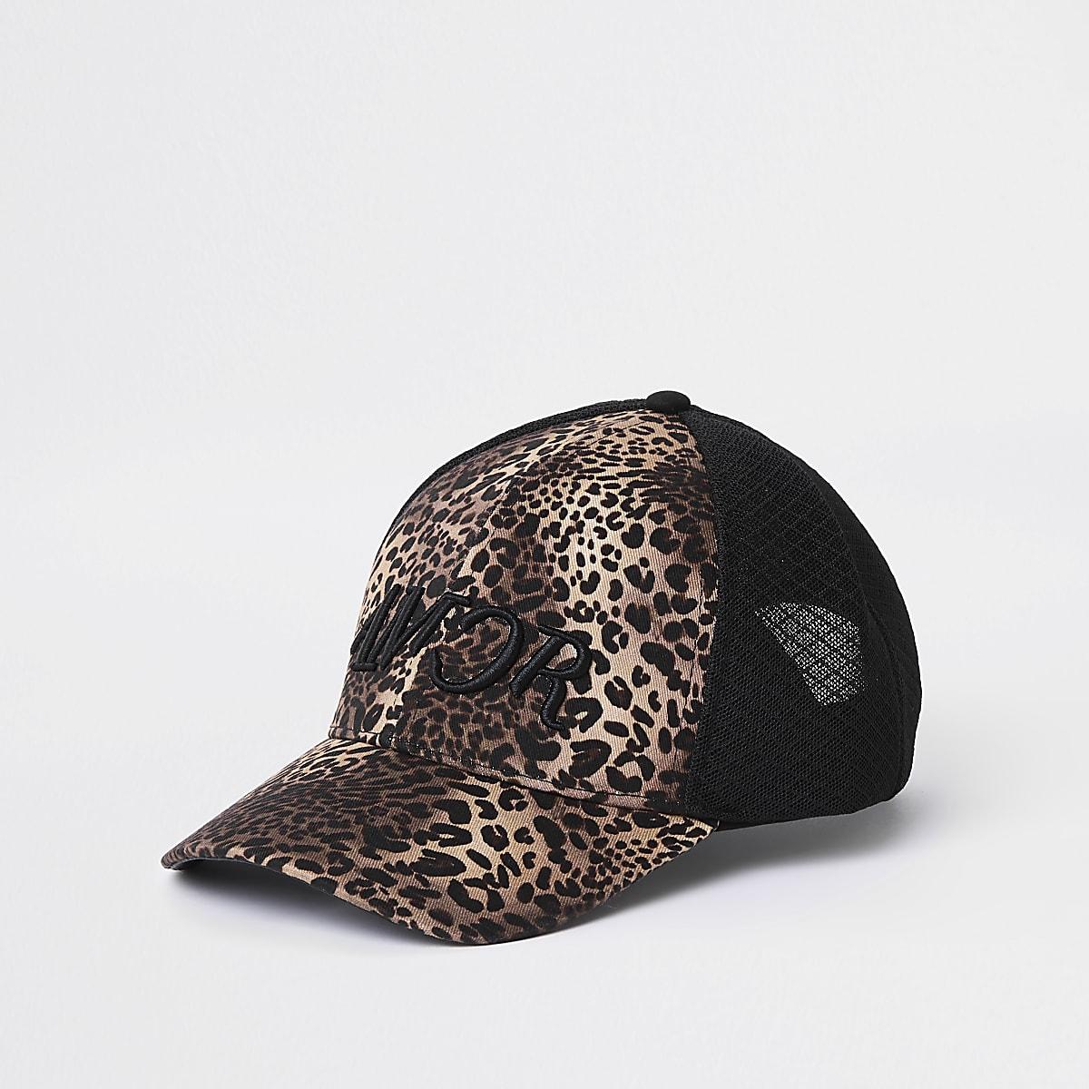 Casquette de baseball à imprimé léopard noir et tulle
