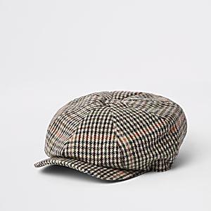 Light grey check baker boy cap