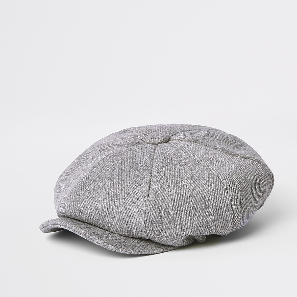 Light grey herringbone baker boy hat