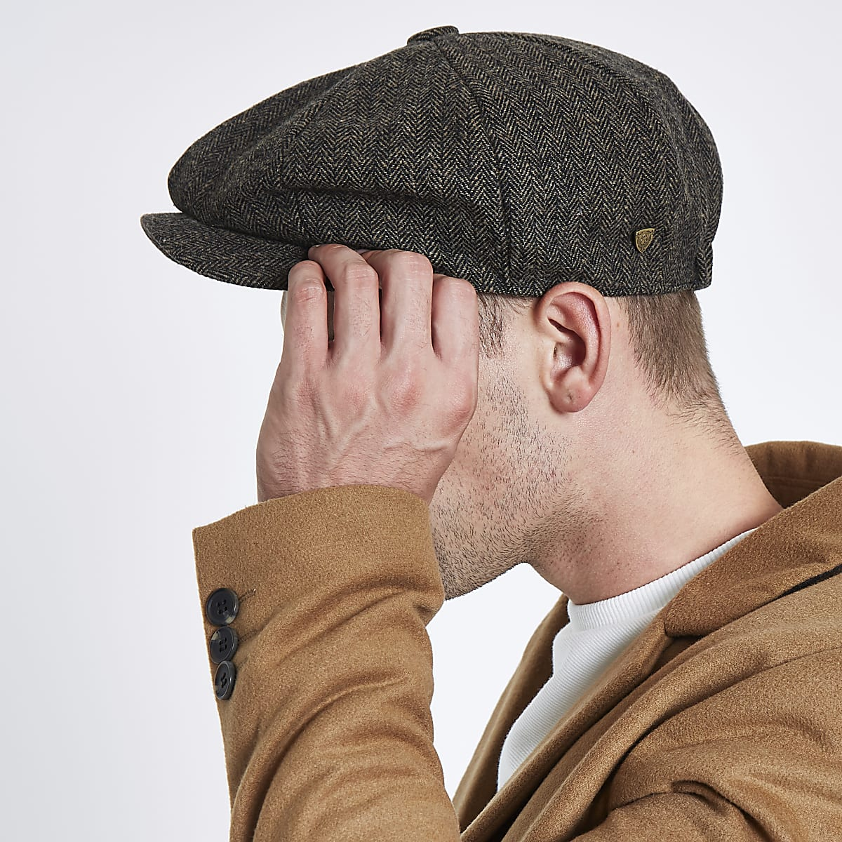 081c1519 Brown herringbone baker boy cap - Hats / Caps - Accessories - men