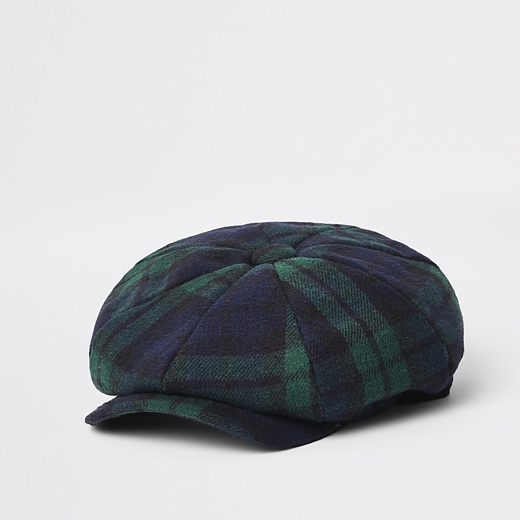 Green check baker boy cap
