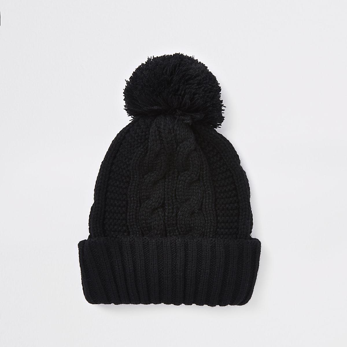 Black cable knit bobble beanie hat