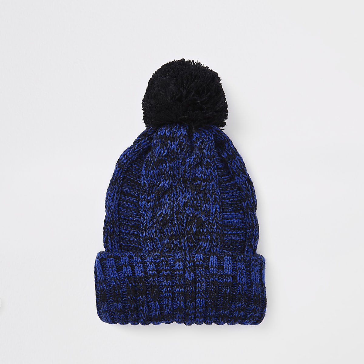 Navy cable knit bobble beanie hat