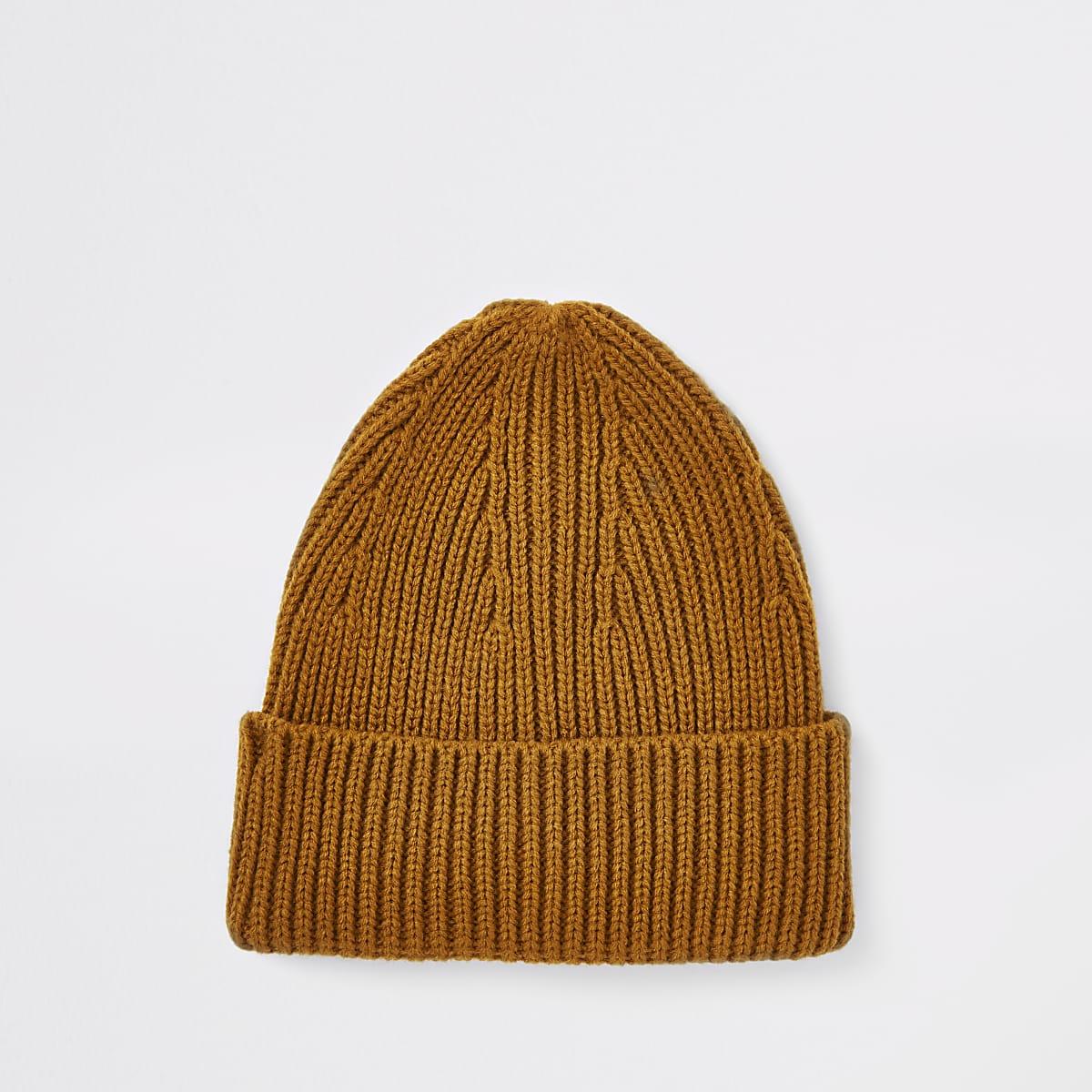 Yellow fisherman beanie hat