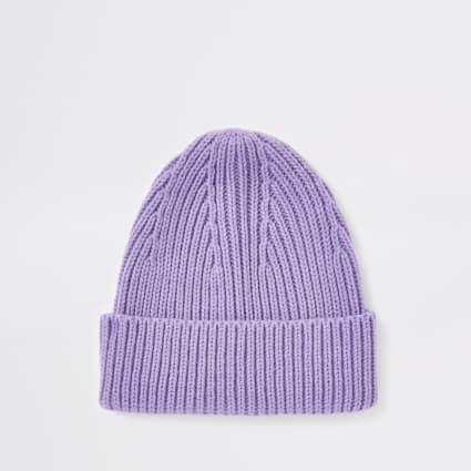 Purple fisherman beanie hat