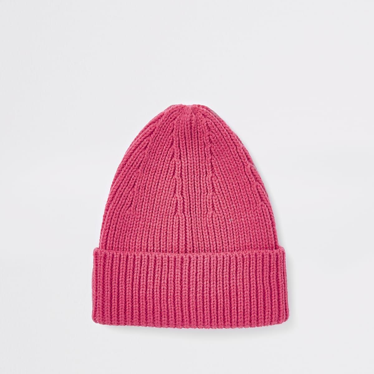 Pink fisherman knit beanie hat