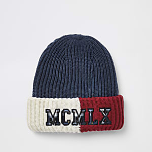 Navy color block embroidered beanie hat