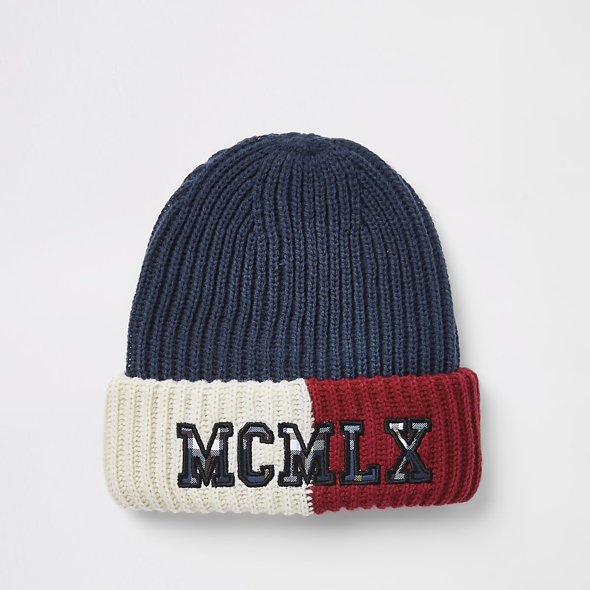54fcf1b7ad6 Navy color block embroidered beanie hat Navy color block embroidered beanie  hat ...