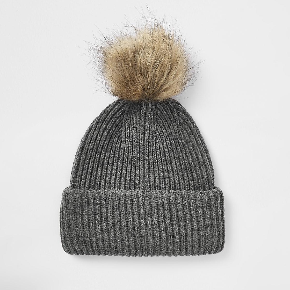 a6b914e7bdf Grey faux fur pom pom beanie hat - Hats   Caps - Accessories - men