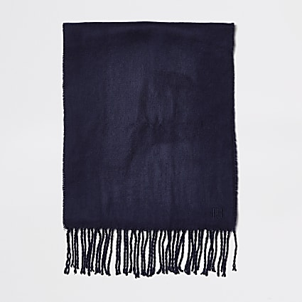 Navy woven embroiderd scarf