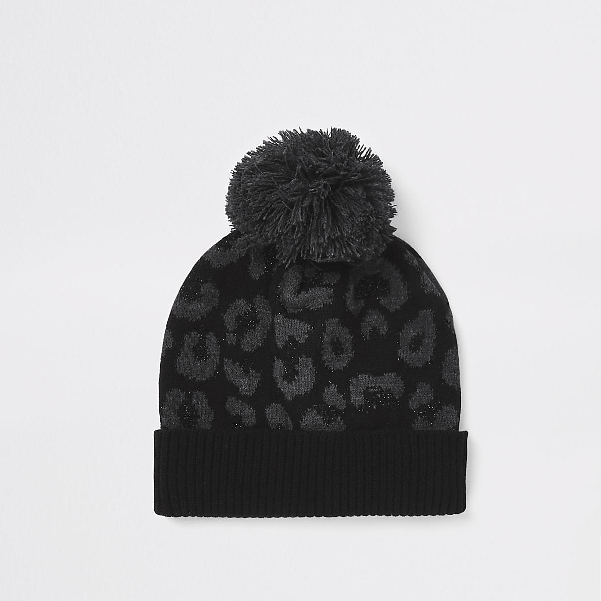 Black leopard print bobble beanie hat