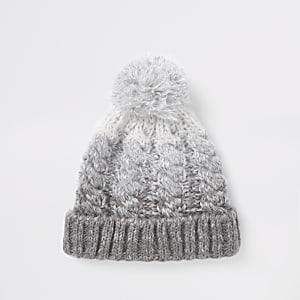 c7e934d8b8d Grey ombre bobble beanie hat