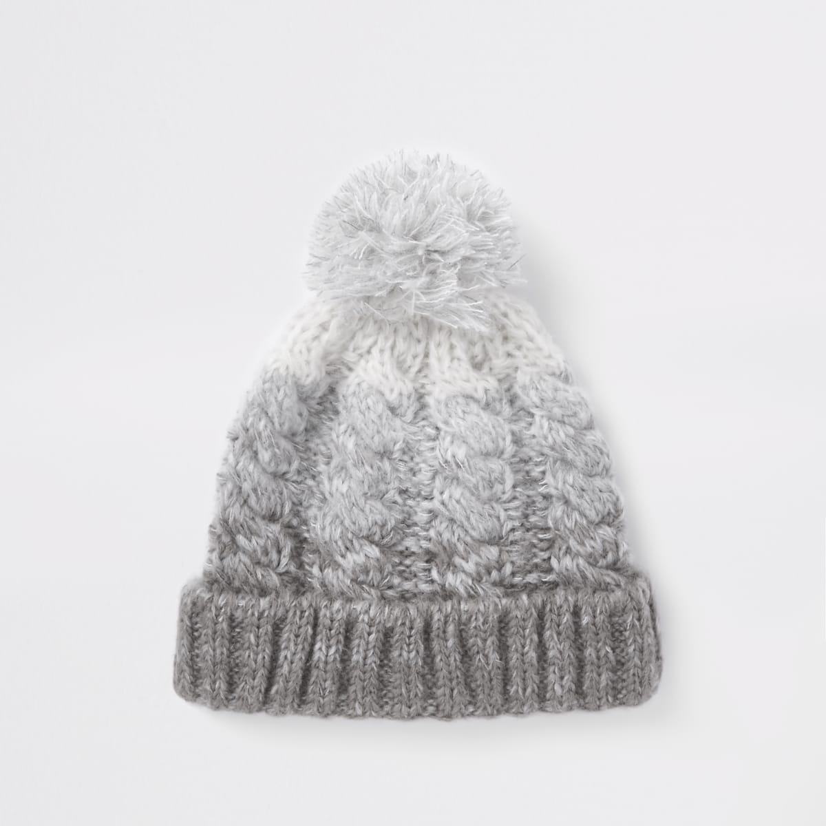 Grey ombre bobble beanie hat