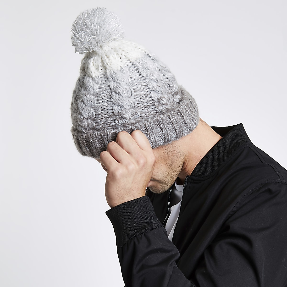 2725b99fb799a Grey ombre bobble beanie hat - Hats   Caps - Accessories - men