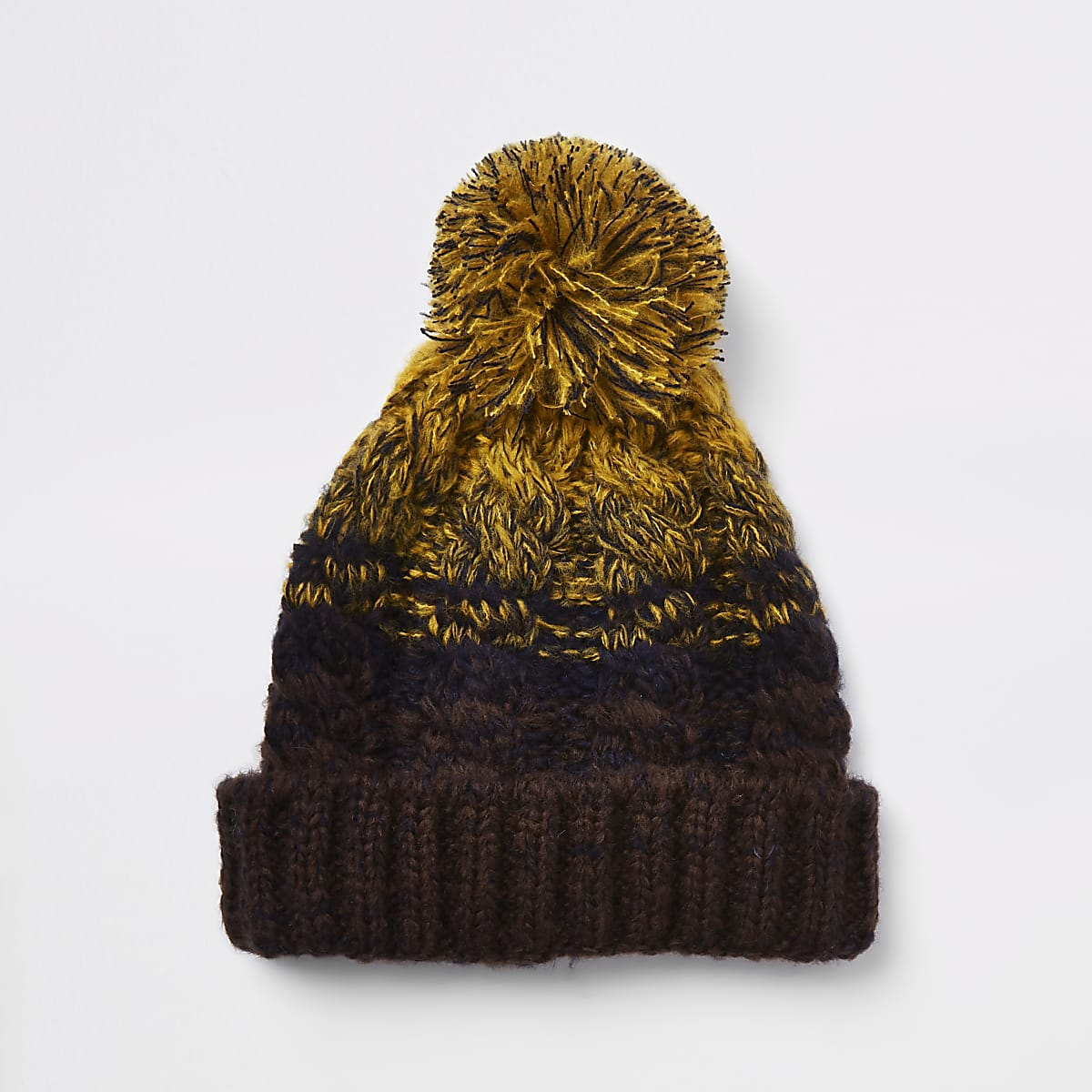 Mustard yellow cable knit bobble beanie hat